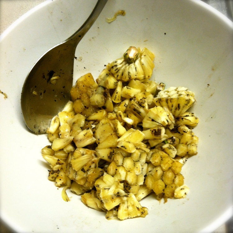 We knocked the kernels off and let them ripen in the fridge.