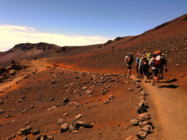 Hiking into Haleakala Crater, Maui